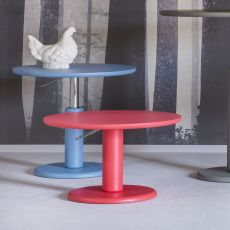 Maciste - Miniforms round table in MDF, fixed or extendible top, adjustable in height, available in different dimensions