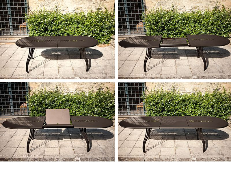 vera o table emu en m tal plan de travail ovale allongeable sediarreda. Black Bedroom Furniture Sets. Home Design Ideas