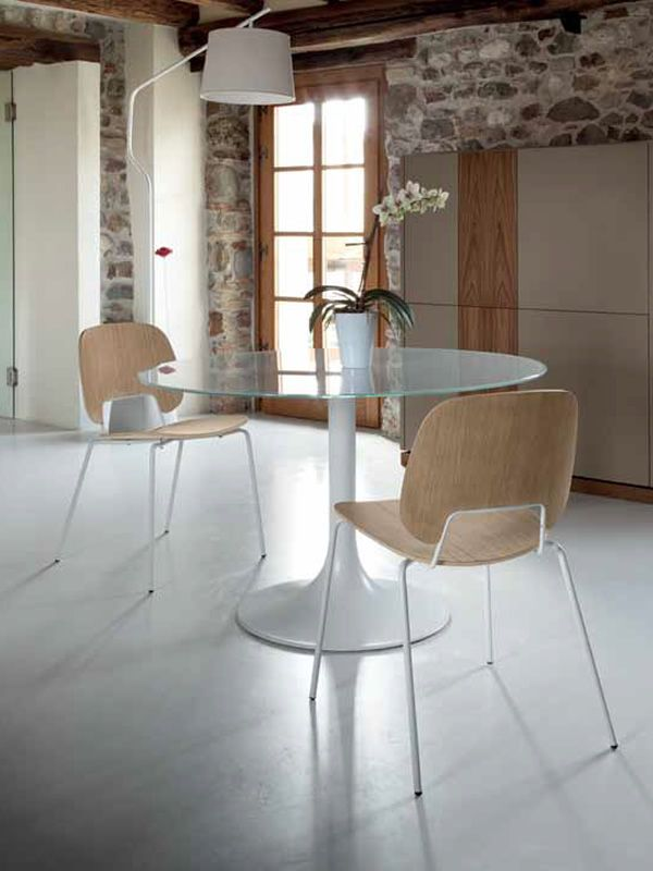 Corona 120   Round Table Made Of White Varnished Metal With Extra White  Glass Top ...