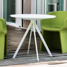 Margarita-T - Tavolo fisso in metallo, piano rotondo in polietilene, diametro 80 cm, diversi colori, anche per esterno