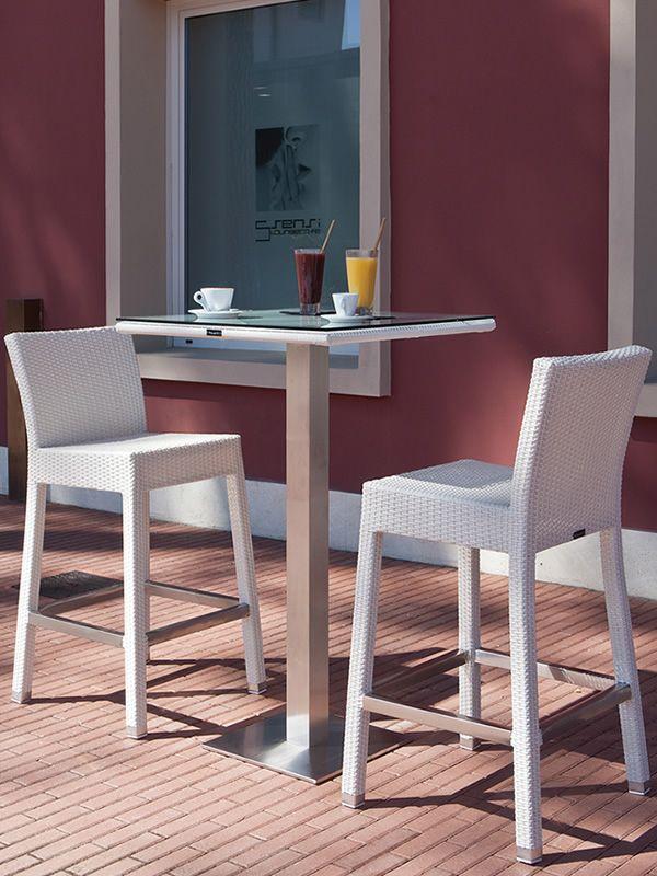 Ibiza ST-SG  Tavolo alto bianco con due sgabelli