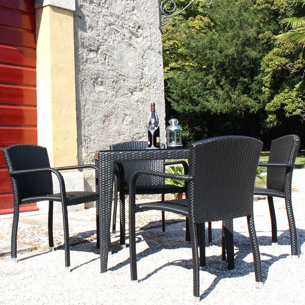 Arc175 sedia con braccioli in alluminio e simil rattan for Sedie in rattan per esterni