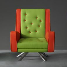 Gulp - Designer armchair Adrenalina, with metal base, available in different fabrics and colors
