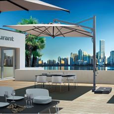 OMB60 - Cantilever parasol with retractable system, in aluminum, available in different sizes and colours