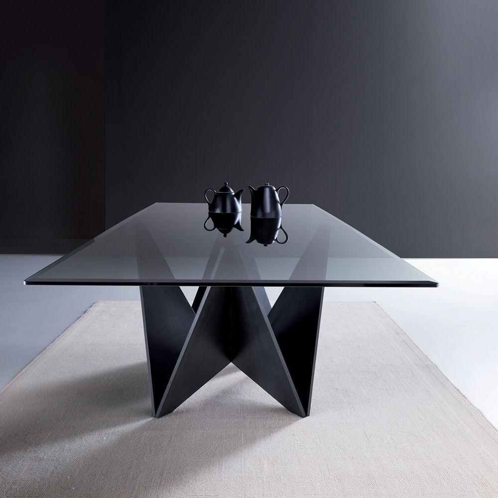 origami glass moderner holztisch mit abgeschr gter. Black Bedroom Furniture Sets. Home Design Ideas