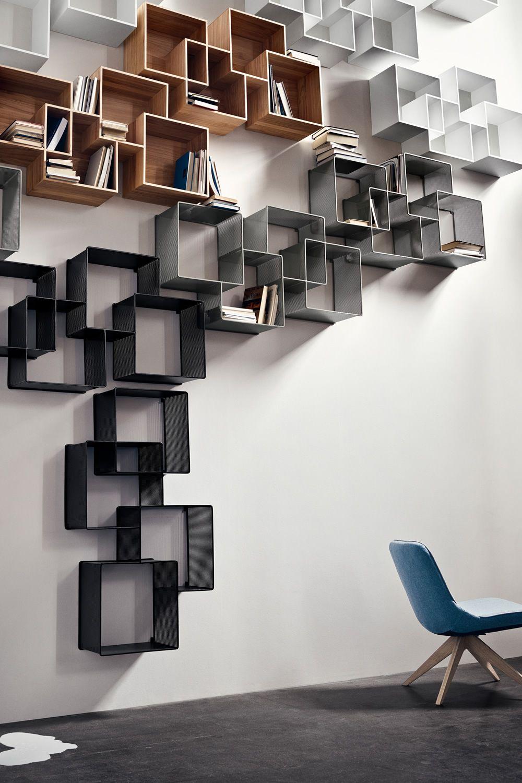 Quadro libreria modulare da parete in legno sediarreda for Oggetti da parete design