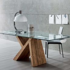 aKeo A - Designer wooden table, extendible, with top in glass, available in different dimensions