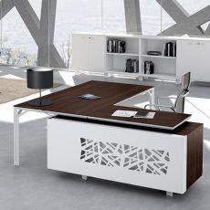 Office X8 02 - Scrivania direzionale con penisola e cassettiera, in metallo e laminato, disponibile in diverse dimensioni e finiture