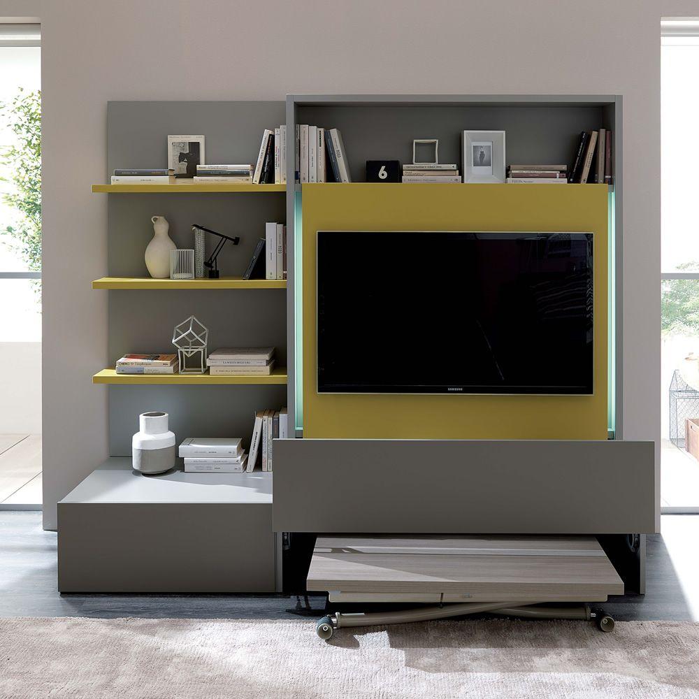 Smart Living L Paroi Moderne De S Jour En Bois Quip E De 3  # Tv Living Avec Portes Coulissante