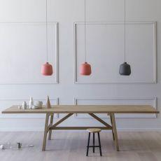 Frattino - Tavolo rettangolare Miniforms in rovere, fisso o allungabile, diverse dimensioni disponibili