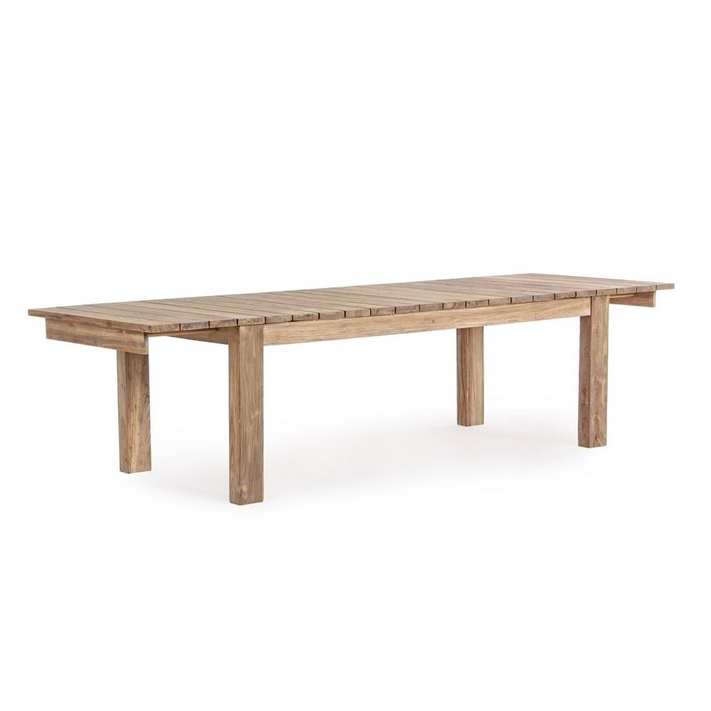 Nevis table extensible en teck 220x100 cm id ale l for Table exterieur en teck