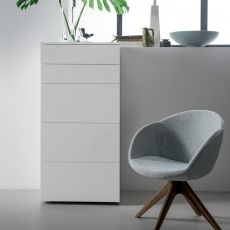 Slim-D - Dall'Agnese high chest of drawers made of wood, different finishes available, three deep drawers and two drawers