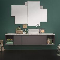 45 C - Meuble de salle de bain avec plan en grenaille de marbre, 1 tiroir, disponible en différentes couleurs