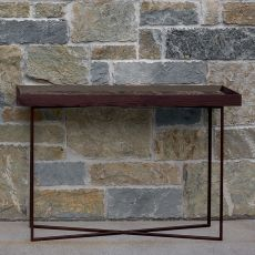 Slash-CM - Dall'Agnese metal console, top in veneered wood and marble, different colours available