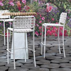 InOut 828 - Sgabello Gervasoni in alluminio, seduta in PVC o cinghie elastiche, impilabile, altezza seduta 65 o 75 cm, anche per giardino