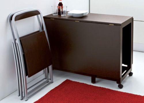 Icon t mesa domitalia de madera 95x40 cms plegable y - Mesa plegable con sillas dentro ...