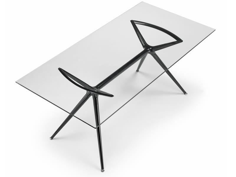 Metropolis 2407 table design en m tal plateau for Table structure design
