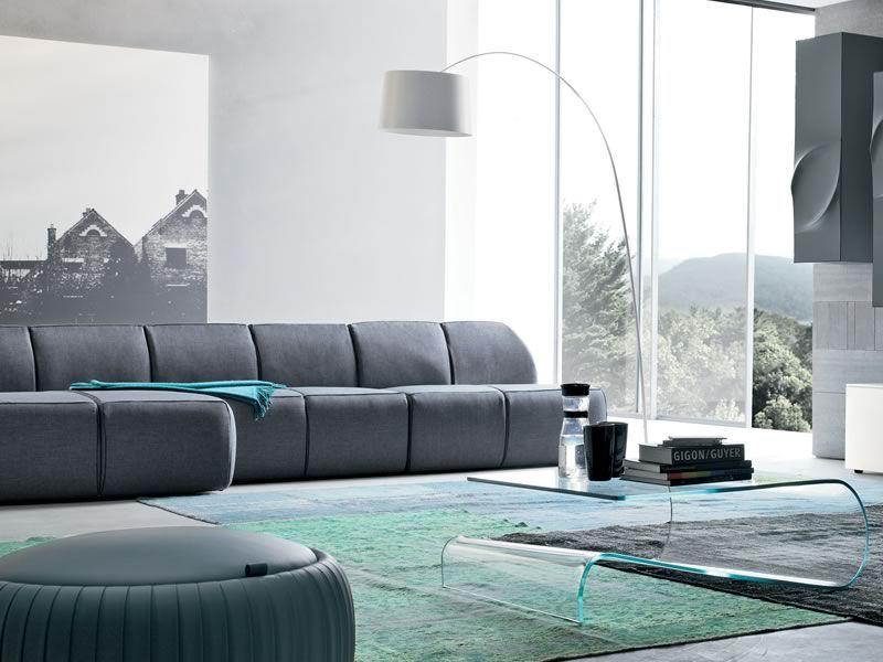 Blum e divano moderno tonin casa con chaise longue con rivestimento in tessuto pelle o - Divano 4 posti con chaise longue ...