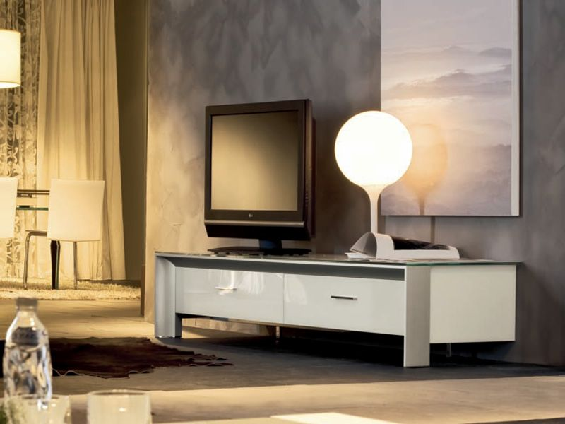 6205 miami meuble tv de tonin casa en aluminium et verre avec tiroirs sediarreda. Black Bedroom Furniture Sets. Home Design Ideas