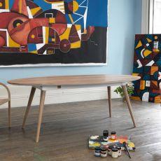Inês - Tavolo ovale in legno, fisso, 220x105 cm, disponibile in diverse essenze
