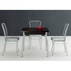 Kendo 80 - Tavolo Domitalia in metallo, piano in melaminico, 80 x 80 cm allungabile