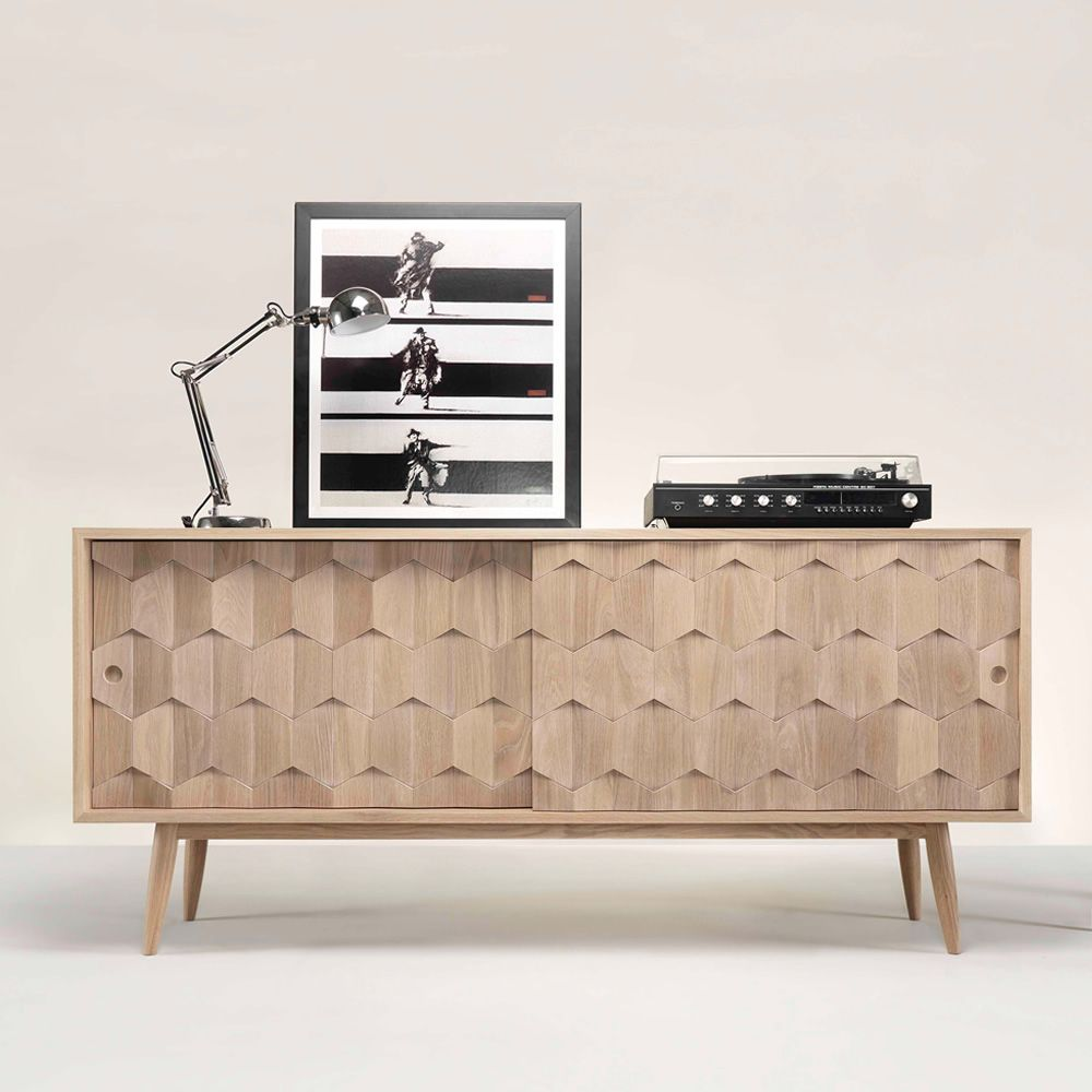 Mobile Tv Con Ante Scorrevoli.Scarpa Wooden Sideboard With Sliding Doors Shelves And Drawers