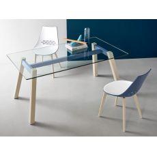 CB4781 T-Table - Tavolo fisso Connubia - Calligaris in legno e metallo, piano in vetro, diverse misure disponibili