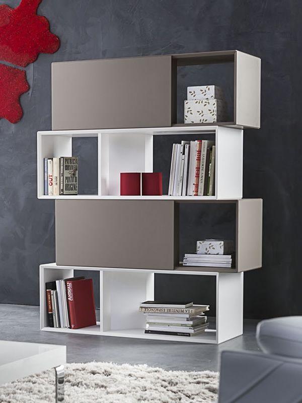 PA607 - Libreria modulare in legno laccato, con ante - Sediarreda