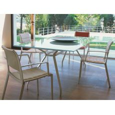 Open-VT - Emu table in metal, 200x100 cm glass top, for garden