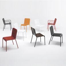 Stripes - Sedia design in metallo, con o senza braccioli, impilabile, anche per giardino