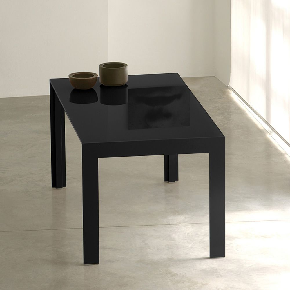 Matrix r pedrali extensible alluminium table with glass for Table extensible pied metal