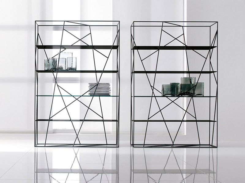 bücherregal glas metall