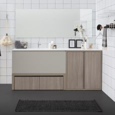 Acqua e Sapone E - Bath cabinet with Korakril™ top and integrated sink, deep drawer and washer cabord and available in several colours