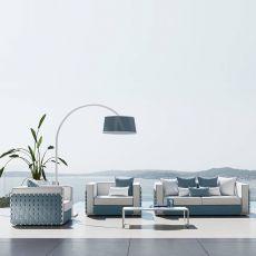 Lily Set - Set design da giardino: divano, 2 poltrone e un tavolino in alluminio 110x60 cm, disponibile in diversi colori