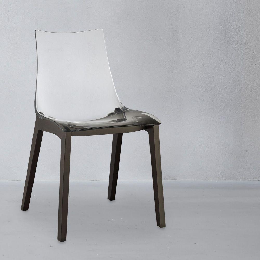 Natural zebra 2805 stuhl aus holz sitz aus transparentem polycarbonat - Transparenter stuhl ...