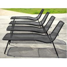 Round L - Emu sun lounger madeo of metal, stackable, for garden