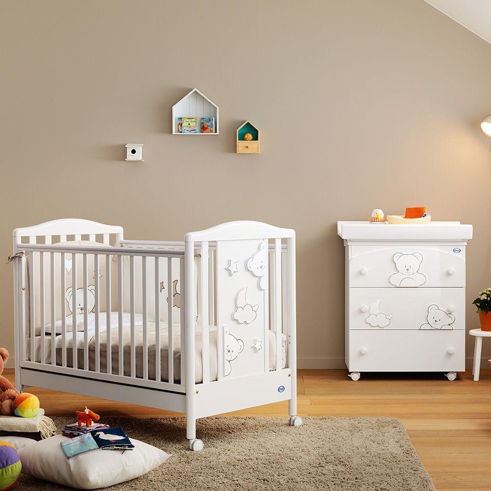 Georgia lit b b pali en bois avec tiroir sommier lattes r glable en hauteur sediarreda - Lit bebe hauteur reglable ...