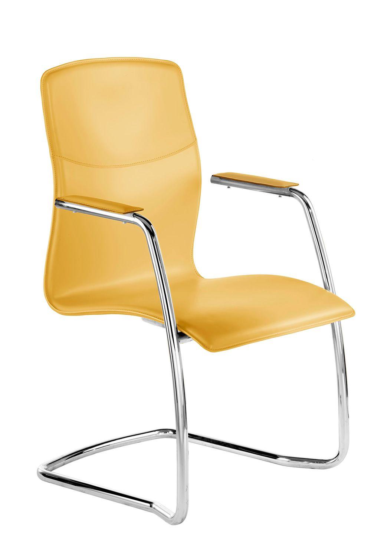 Layla host chaise visiteur pour le bureau directionnel for Chaise cuir jaune