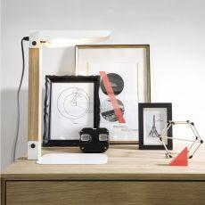 Merlin - Lampada da tavolo Universo Positivo in metallo e legno, diversi colori disponibili