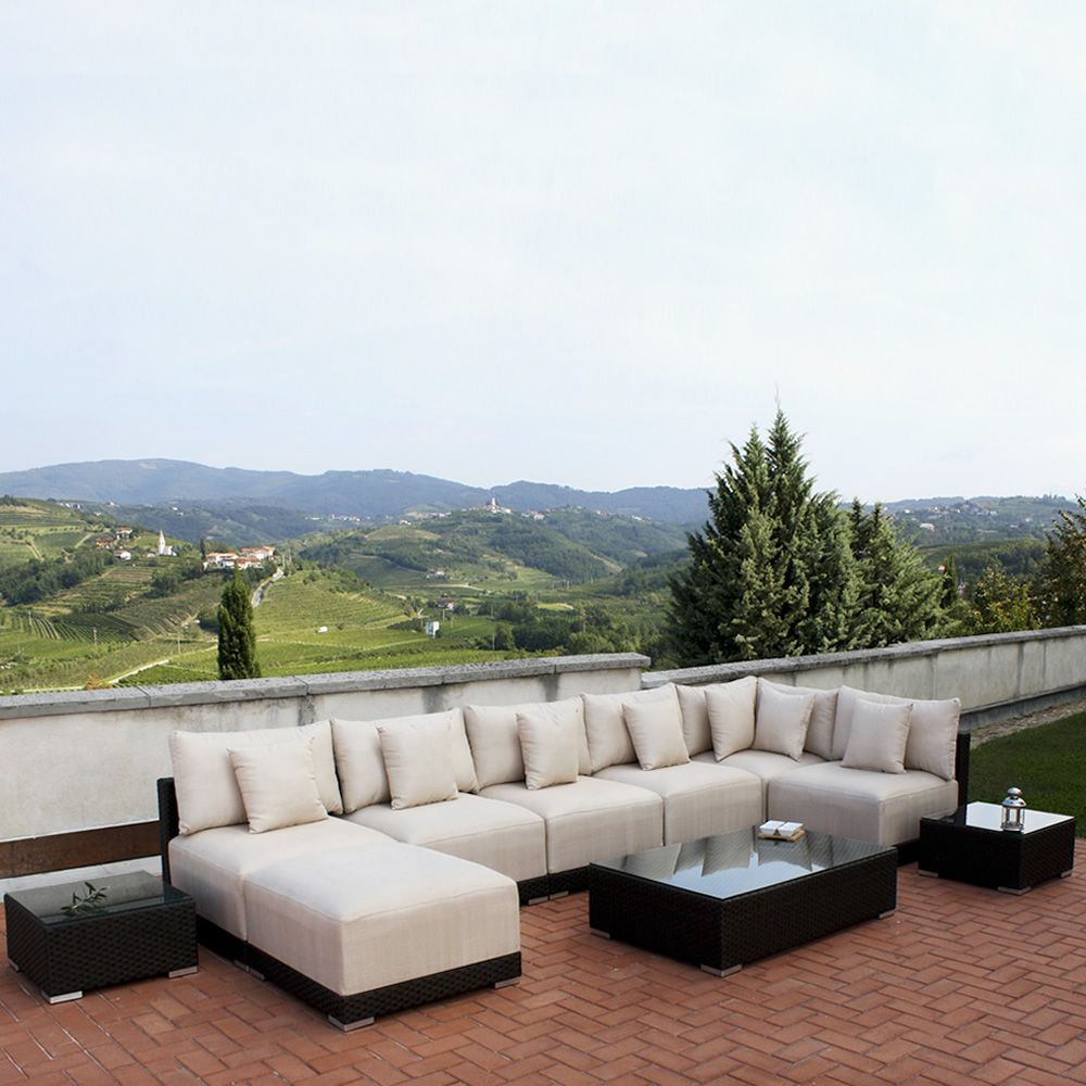 Kit esterno 20 sedute modulari per giardino in alluminio - Divani da esterno offerte ...