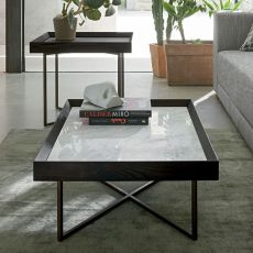 Slash-M - Dall'Agnese metal coffee table, top in veneered wood and marble, different colours and sizes available