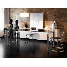 Brooklyn - Tavolo allungabile Midj in metallo con piano in vetro, diversi misure disponibili