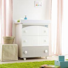 Gaia F - Wickelkommode mit Badewanne Pali, mit 3 Schubladen, in verschiedenen Farben verfügbar
