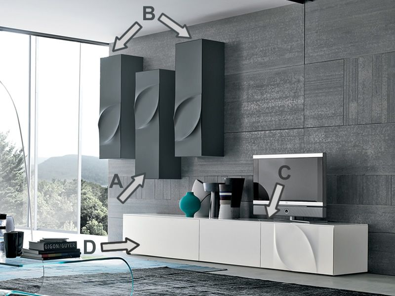 leaves f m bel komposition f r den wohnzimmer tonin casa aus lackiertem mdf in verschiedenen. Black Bedroom Furniture Sets. Home Design Ideas