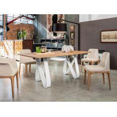 8070-L Butterfly - Tavolo fisso Tonin Casa in legno, piano in vetro, marmo o impiallacciato, 200 x 100 cm