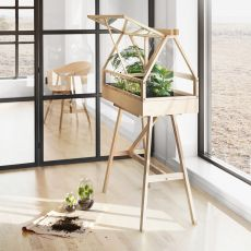 Greenhouse - Jardiniere made of ash wood, with natural finish or dark grey lacquered