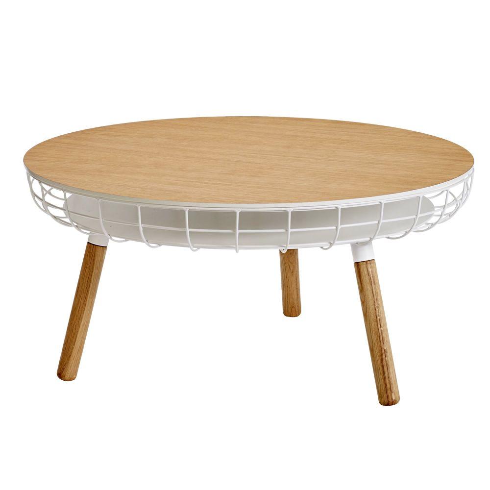 cesta table basse en bois et m tal plateau en bois avec conteneur disponible en diff rentes. Black Bedroom Furniture Sets. Home Design Ideas