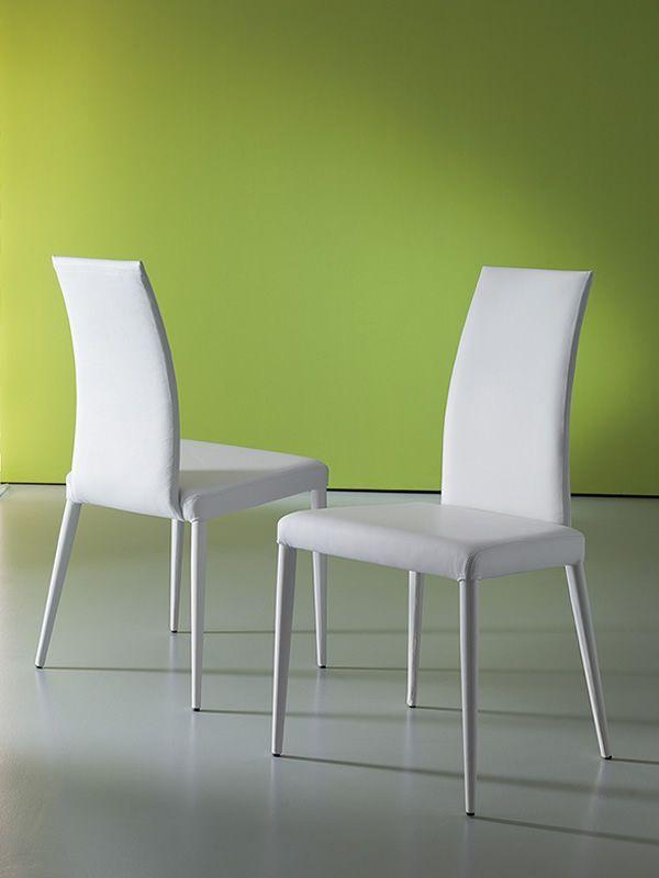 Oceania sedia moderna rivestita in pelle diversi colori for Sedie in pelle bianca
