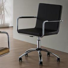 H5-DPL - Sedia da ufficio Midj in metallo, girevole e regolabile, rivestita in pelle, similpelle o tessuto, diversi colori, con ruote