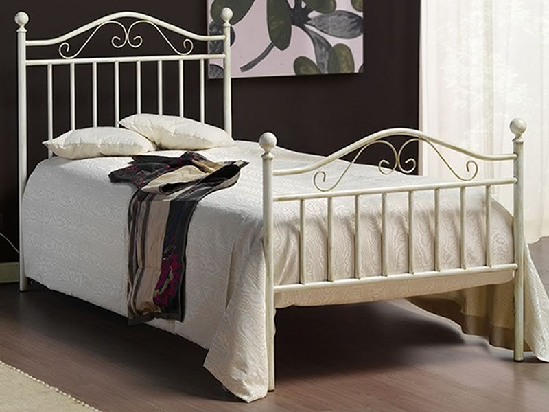 Giusy s cama individual de hierro con pomos entintados - Estructura cama individual ...